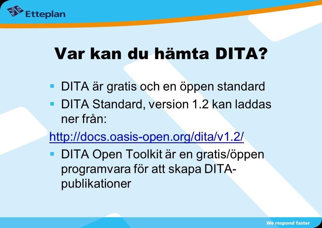 Var kan du hämta DITA?  DITA är gratis och en öppen standard  DITA Standard, version 1.2 kan laddas ner från: http://docs.oasis-open.org/dita/v1.2/