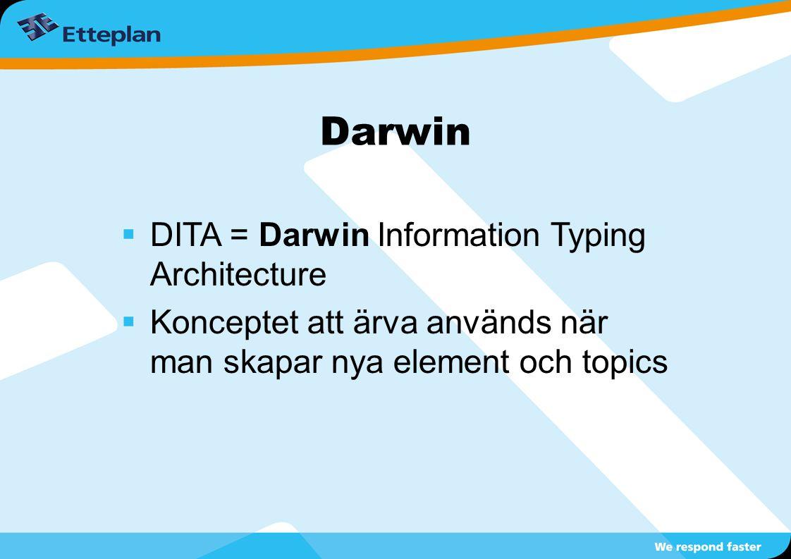 Darwin  DITA = Darwin Information Typing Architecture  Konceptet att ärva används när man skapar nya element och topics