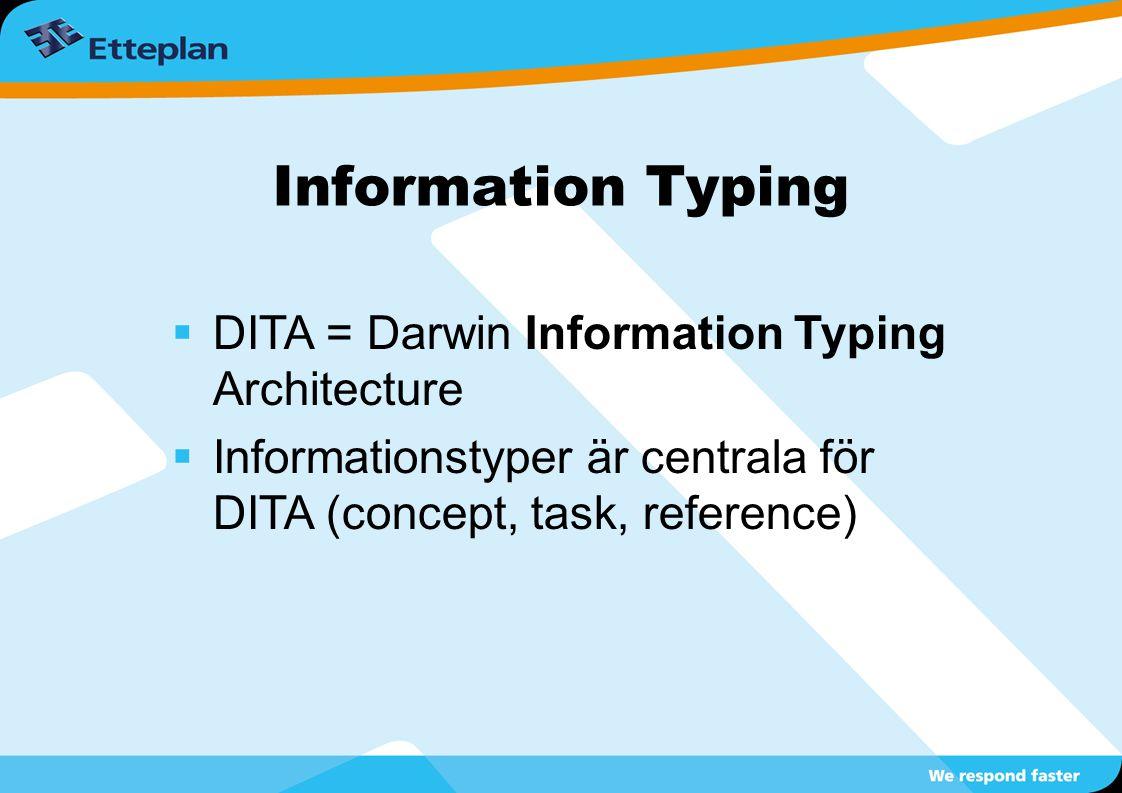Information Typing  DITA = Darwin Information Typing Architecture  Informationstyper är centrala för DITA (concept, task, reference)