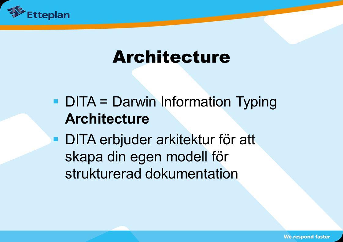 Architecture  DITA = Darwin Information Typing Architecture  DITA erbjuder arkitektur för att skapa din egen modell för strukturerad dokumentation