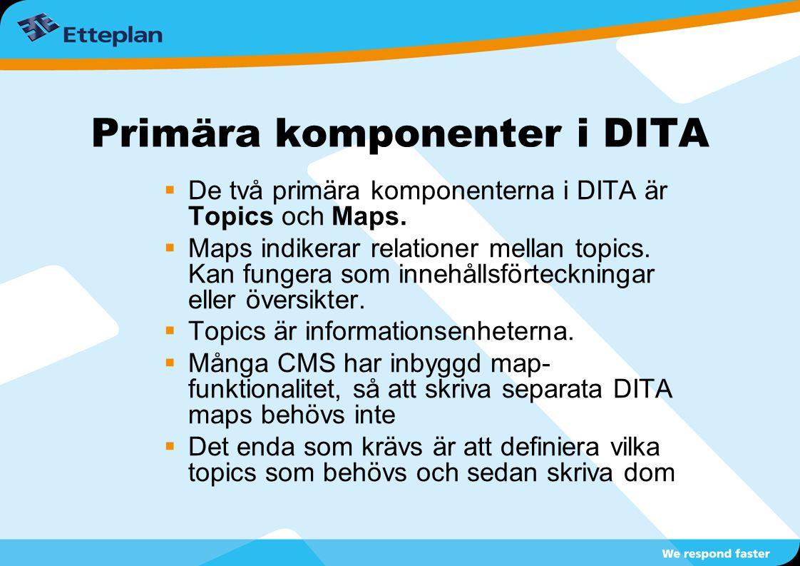 Primära komponenter i DITA  De två primära komponenterna i DITA är Topics och Maps.  Maps indikerar relationer mellan topics. Kan fungera som innehå