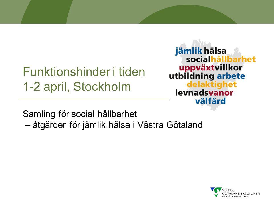 Funktionshinder i tiden 1-2 april, Stockholm Samling för social hållbarhet – åtgärder för jämlik hälsa i Västra Götaland