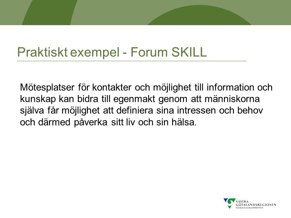 Praktiskt exempel - Forum SKILL Mötesplatser för kontakter och möjlighet till information och kunskap kan bidra till egenmakt genom att människorna själva får möjlighet att definiera sina intressen och behov och därmed påverka sitt liv och sin hälsa.