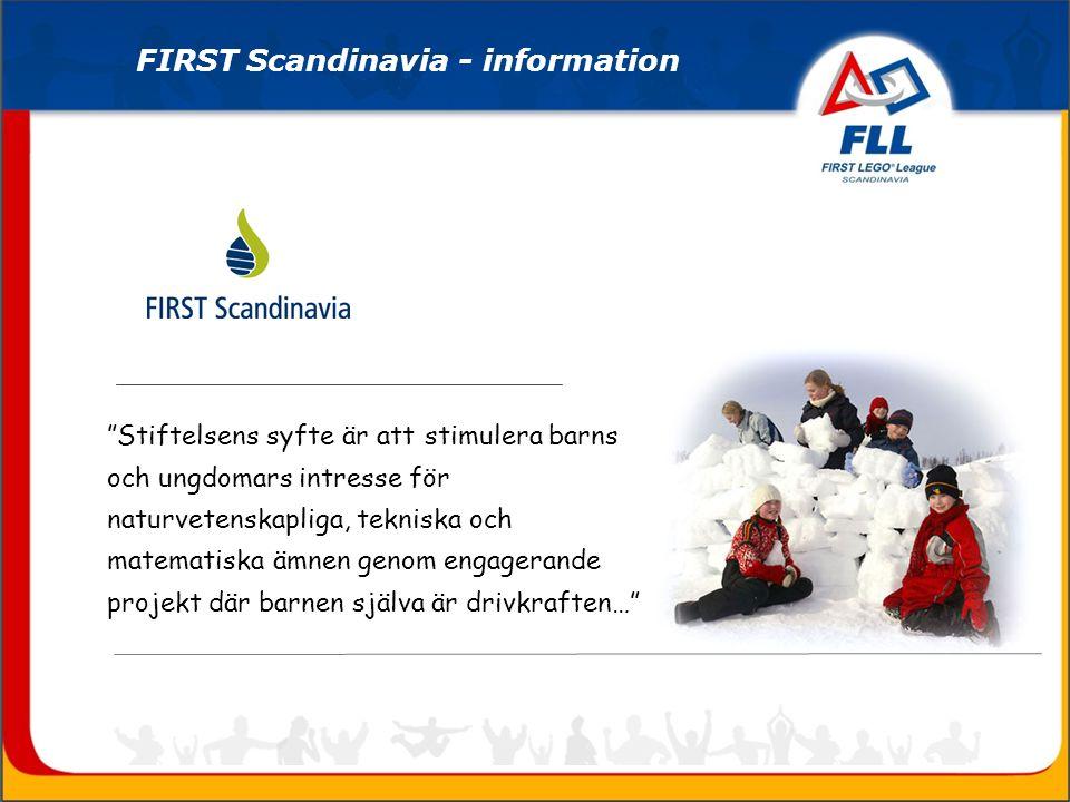 Stiftelsens syfte är att stimulera barns och ungdomars intresse för naturvetenskapliga, tekniska och matematiska ämnen genom engagerande projekt där barnen själva är drivkraften… FIRST Scandinavia - information