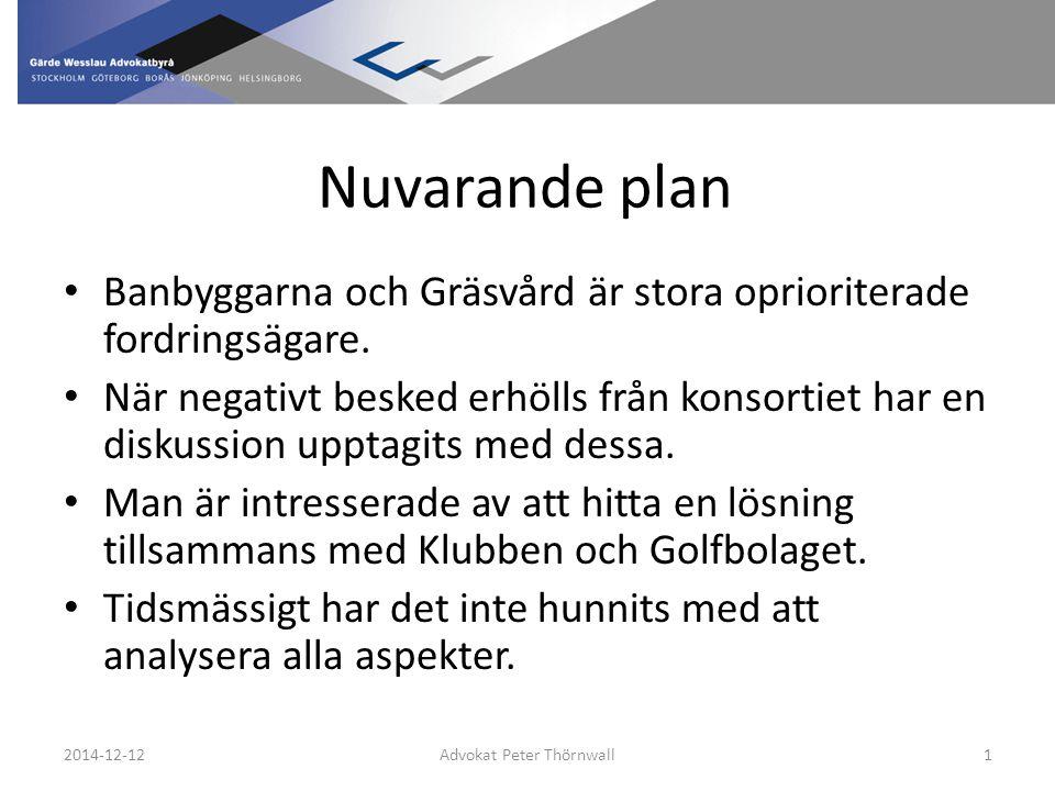 Nuvarande plan Banbyggarna och Gräsvård är stora oprioriterade fordringsägare.