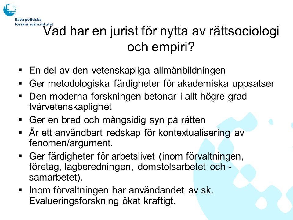 Rättssociologisk forskning i Finland  Den empiriska Law & Society forskningen har sedan 1960- talet blivit allt vanligare i Europa och i USA.