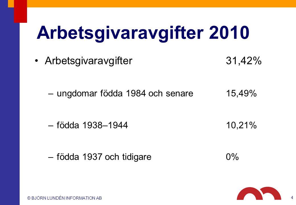 © BJÖRN LUNDÉN INFORMATION AB Arbetsgivaravgifter 2010 Arbetsgivaravgifter31,42% –ungdomar födda 1984 och senare15,49% –födda 1938–194410,21% –födda 1937 och tidigare0% 4