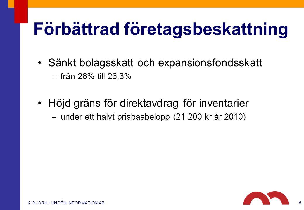 © BJÖRN LUNDÉN INFORMATION AB Förbättrad företagsbeskattning Sänkt bolagsskatt och expansionsfondsskatt –från 28% till 26,3% Höjd gräns för direktavdr