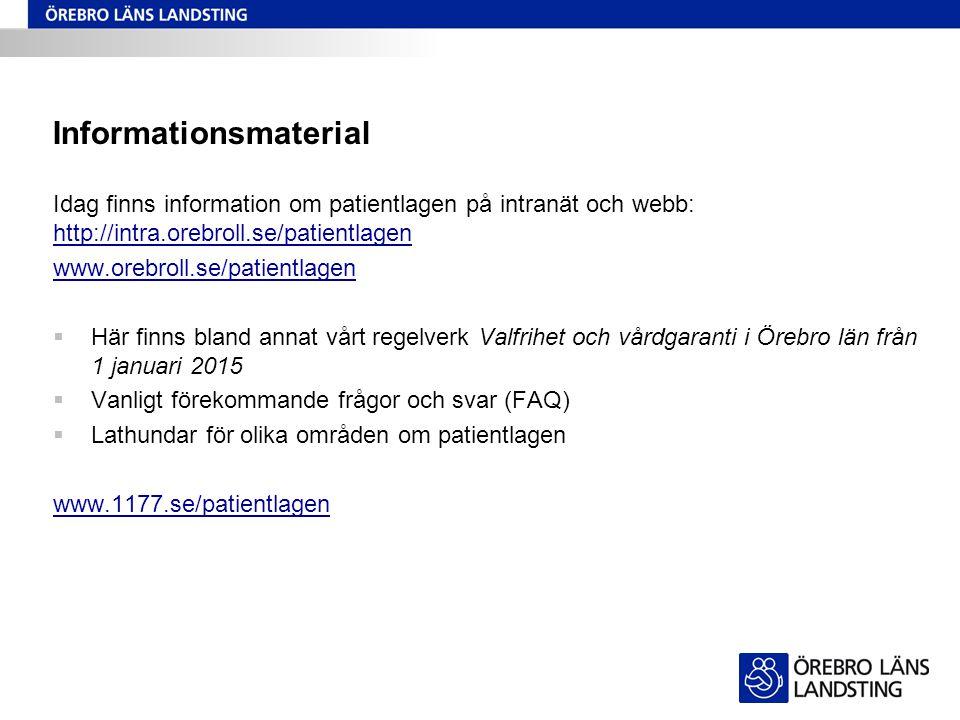 Informationsmaterial Idag finns information om patientlagen på intranät och webb: http://intra.orebroll.se/patientlagen http://intra.orebroll.se/patie