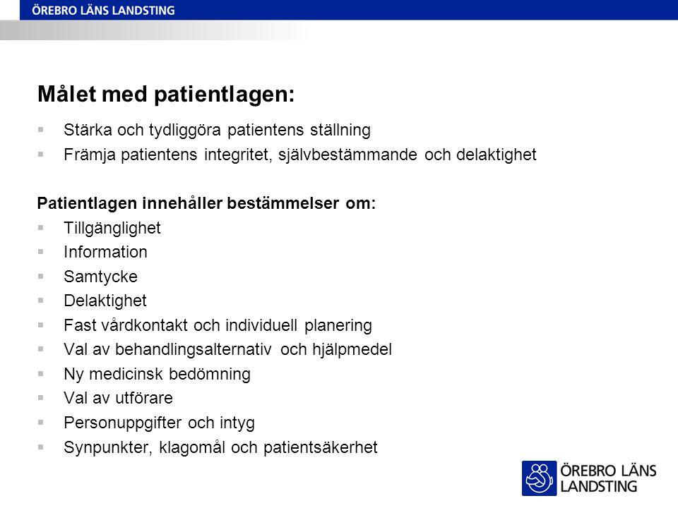 Målet med patientlagen:  Stärka och tydliggöra patientens ställning  Främja patientens integritet, självbestämmande och delaktighet Patientlagen inn