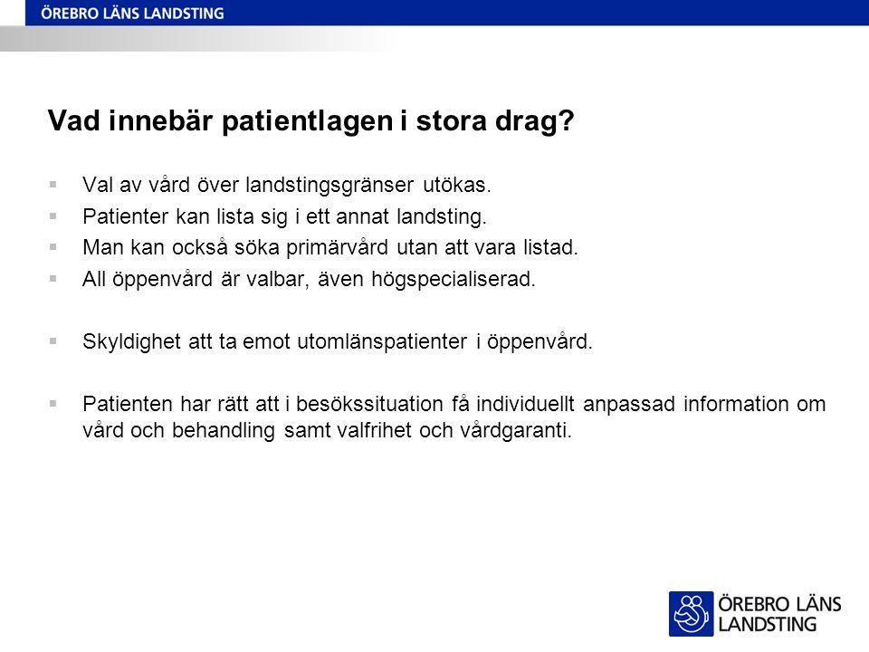 Frågor för verksamheten  Hur ska vi kommunicera kring patientlagen inom våra respektive verksamheter.
