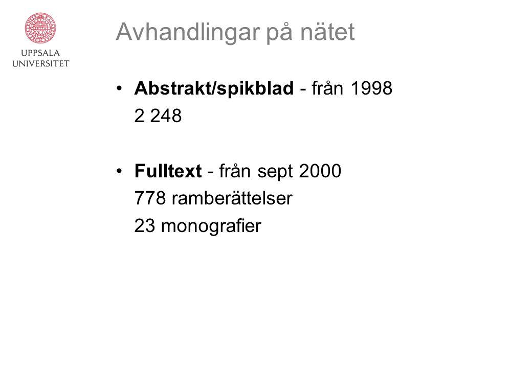 Avhandlingar på nätet Abstrakt/spikblad - från 1998 2 248 Fulltext - från sept 2000 778 ramberättelser 23 monografier