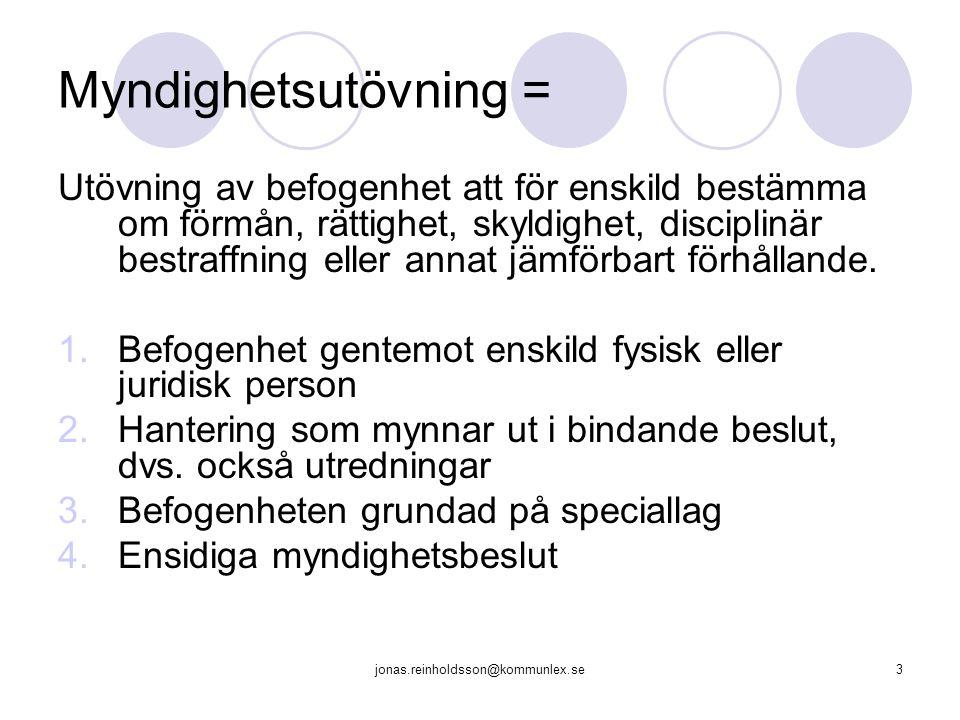 jonas.reinholdsson@kommunlex.se3 Myndighetsutövning = Utövning av befogenhet att för enskild bestämma om förmån, rättighet, skyldighet, disciplinär be