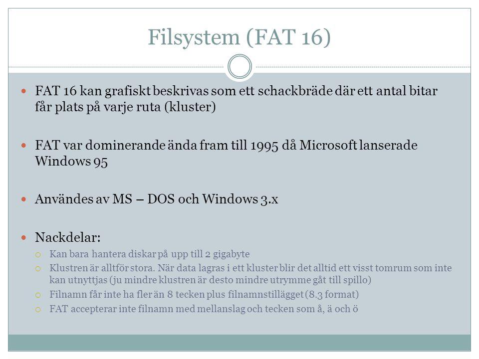 Filsystem (FAT 16) FAT 16 kan grafiskt beskrivas som ett schackbräde där ett antal bitar får plats på varje ruta (kluster) FAT var dominerande ända fr