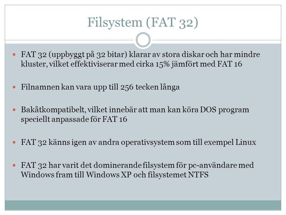 Filsystem (FAT 32) FAT 32 (uppbyggt på 32 bitar) klarar av stora diskar och har mindre kluster, vilket effektiviserar med cirka 15% jämfört med FAT 16