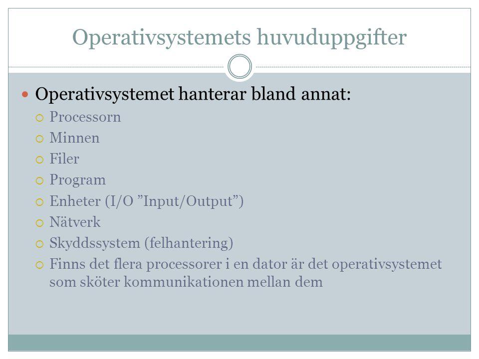 """Operativsystemets huvuduppgifter Operativsystemet hanterar bland annat:  Processorn  Minnen  Filer  Program  Enheter (I/O """"Input/Output"""")  Nätve"""