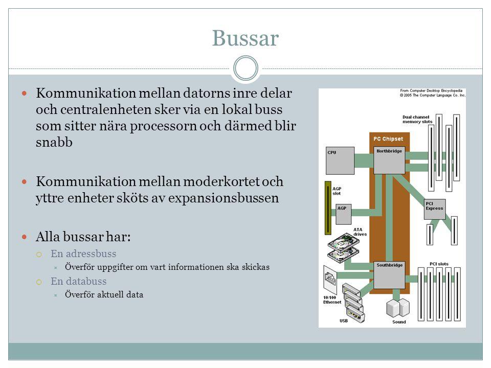 Bussar Kommunikation mellan datorns inre delar och centralenheten sker via en lokal buss som sitter nära processorn och därmed blir snabb Kommunikatio