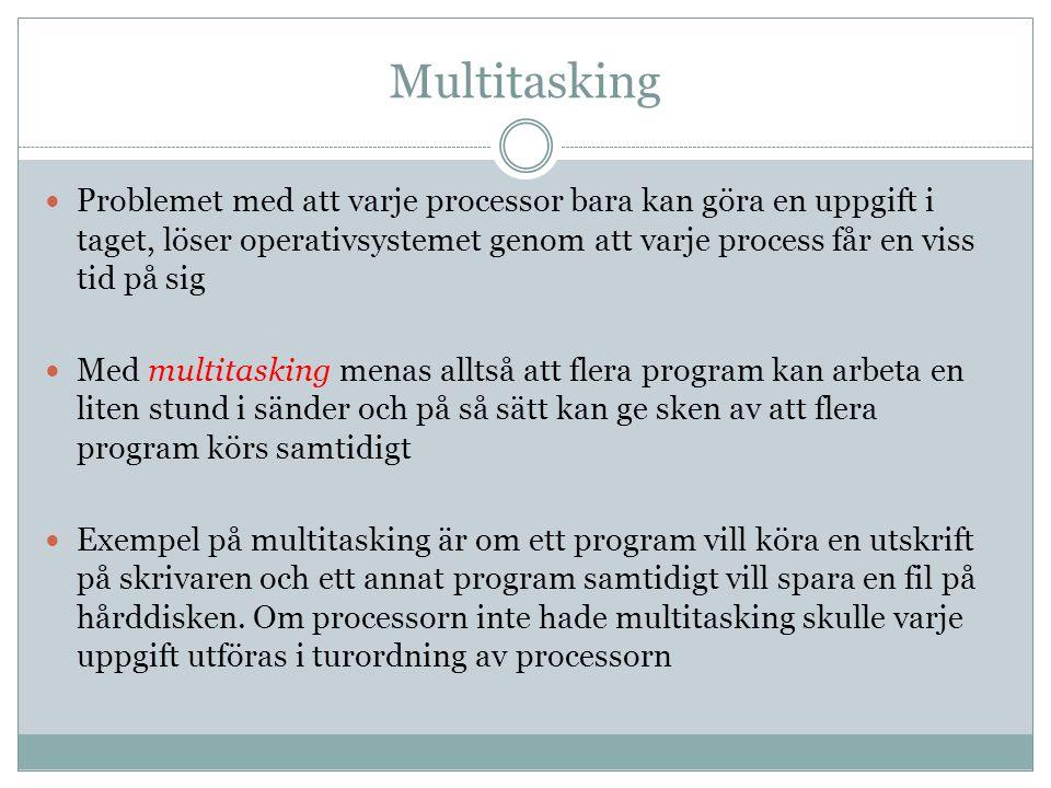Multitasking Problemet med att varje processor bara kan göra en uppgift i taget, löser operativsystemet genom att varje process får en viss tid på sig