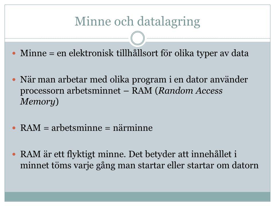Minne och datalagring RAM (Random Access Memory)