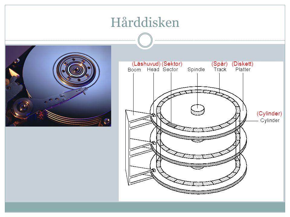 Hårddisken Diskens yta påverkas av ett läs- och skrivhuvud som rör sig mekaniskt över diskarna och som skriver och läser data elektroniskt.