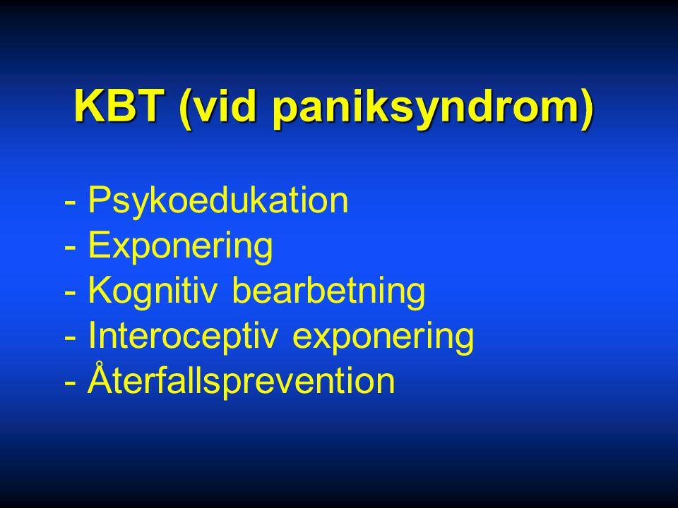 Behandling 2 Läkemedel: SSRI, Klomipramin Låg startdos, informera om möjlig initial ångeststegring