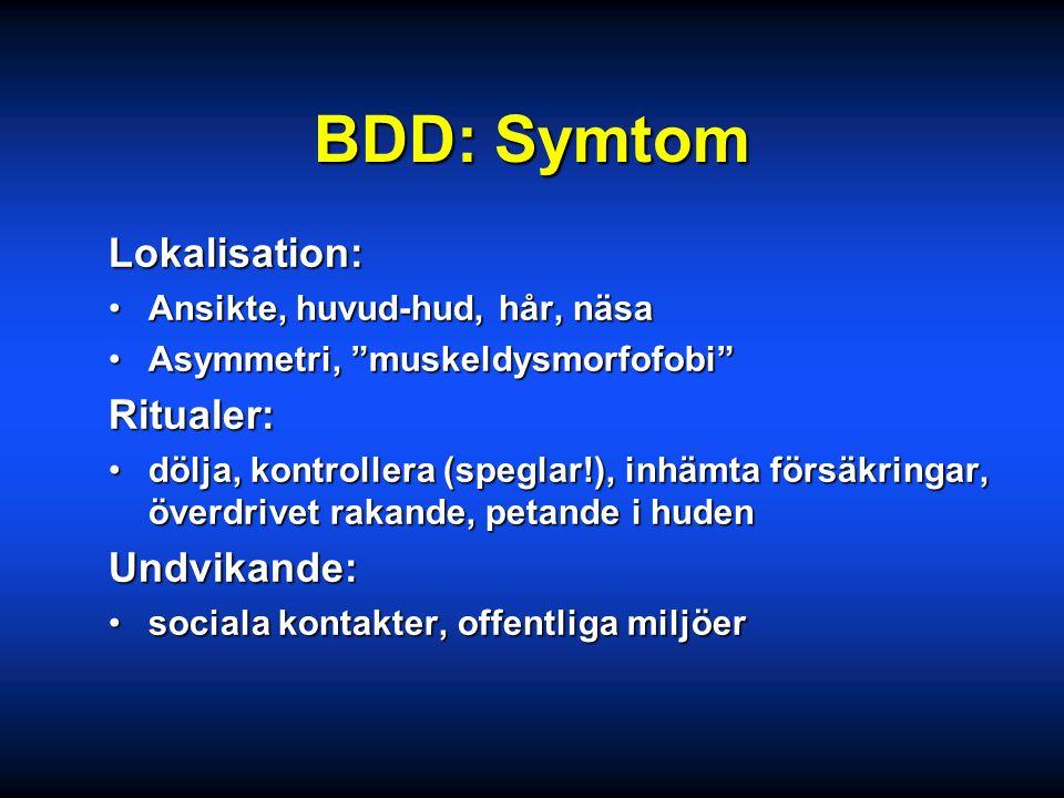 BDD: DSM-kriterier Fixering vid en inbillad defekt i utseendetFixering vid en inbillad defekt i utseendet Orsakar lidande / nedsatt funktionOrsakar li