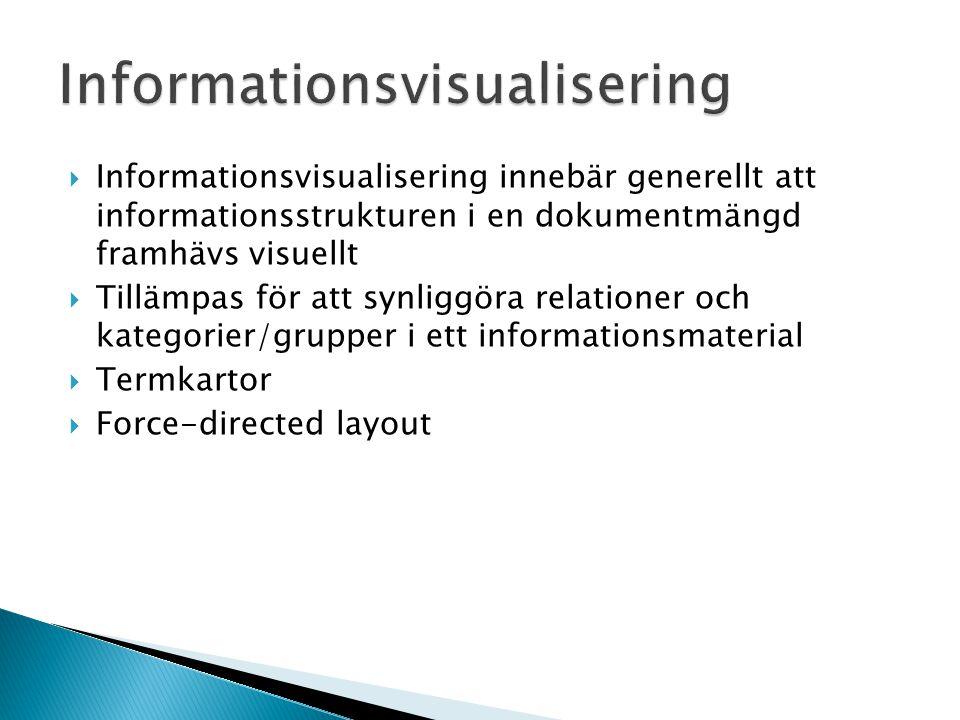 Informationsvisualisering  Informationsvisualisering innebär generellt att informationsstrukturen i en dokumentmängd framhävs visuellt  Tillämpas fö