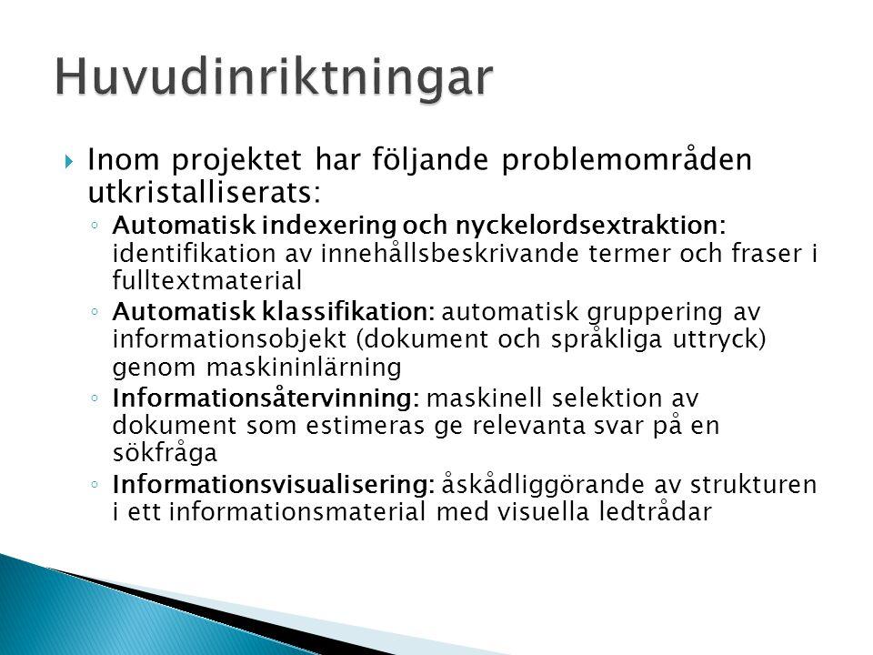  Inom projektet har följande problemområden utkristalliserats: ◦ Automatisk indexering och nyckelordsextraktion: identifikation av innehållsbeskrivan