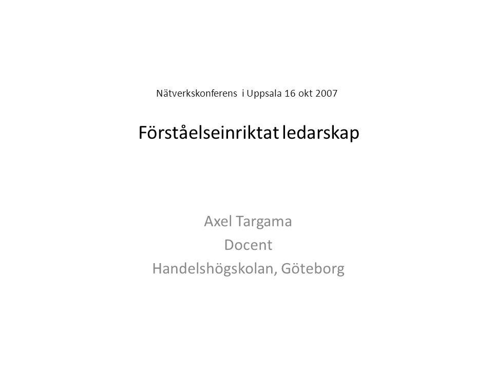 Nätverkskonferens i Uppsala 16 okt 2007 Förståelseinriktat ledarskap Axel Targama Docent Handelshögskolan, Göteborg