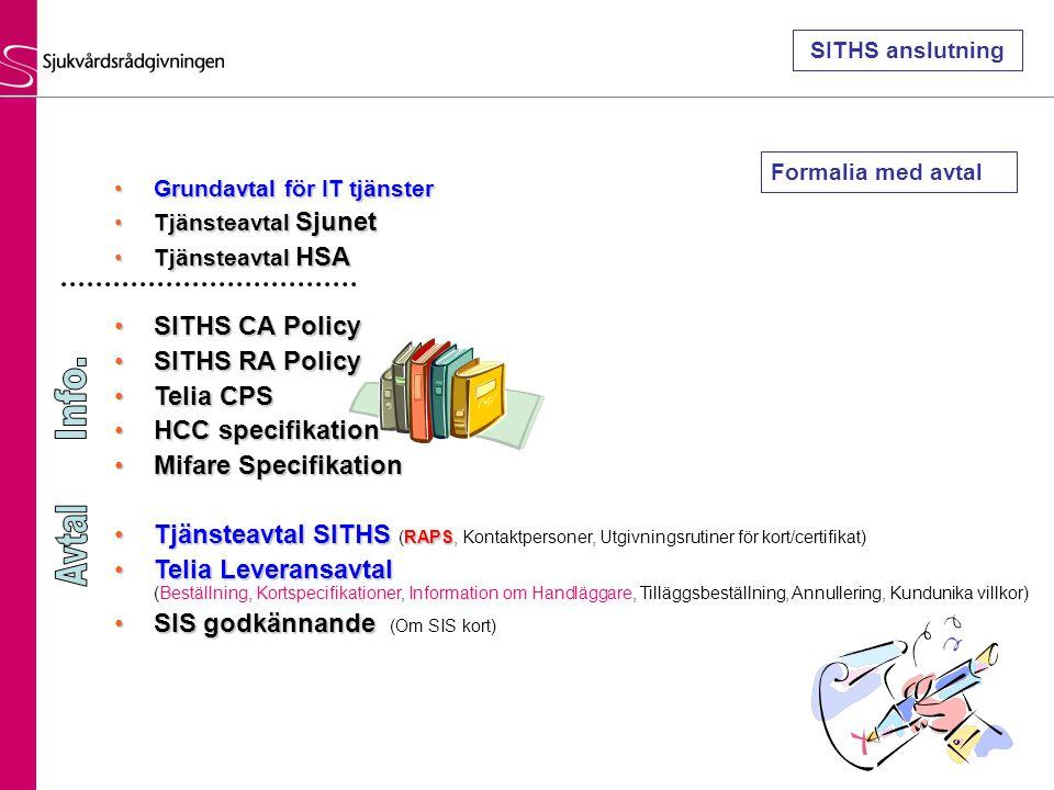 Grundavtal för IT tjänsterGrundavtal för IT tjänster Tjänsteavtal SjunetTjänsteavtal Sjunet Tjänsteavtal HSATjänsteavtal HSA SITHS CA PolicySITHS CA P