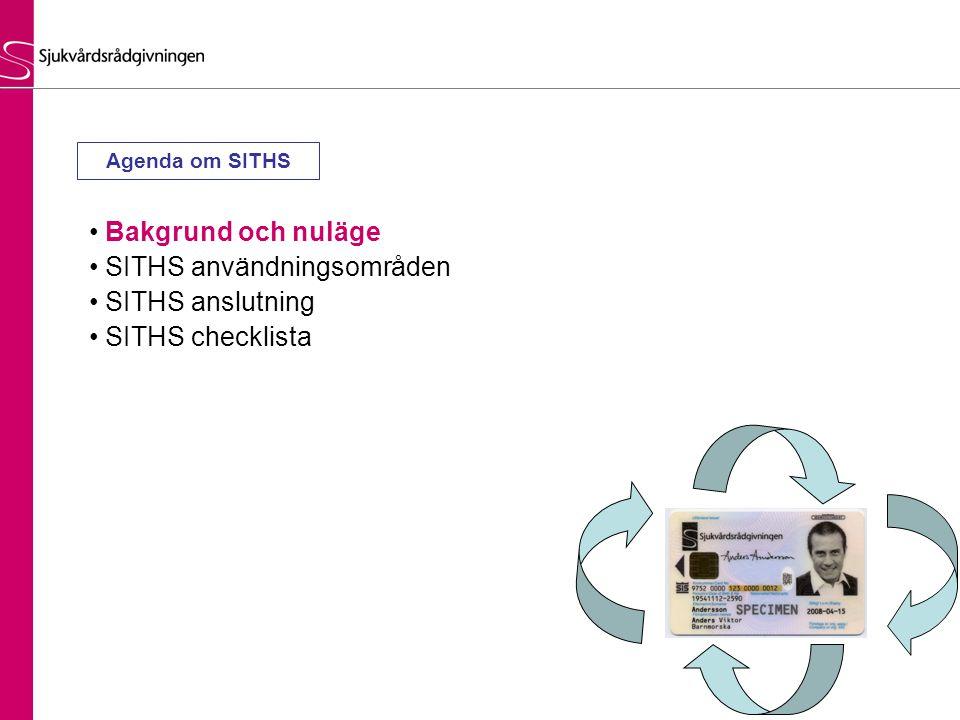 Bakgrund och nuläge SITHS användningsområden SITHS anslutning SITHS checklista Agenda om SITHS