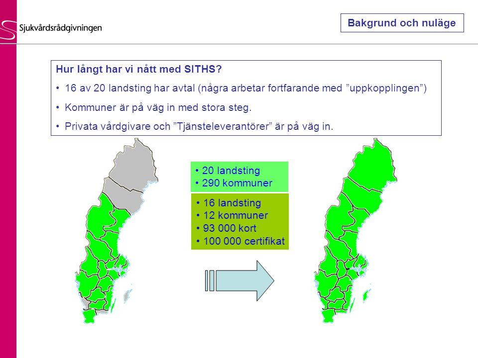 16 landsting 12 kommuner 93 000 kort 100 000 certifikat 20 landsting 290 kommuner Hur långt har vi nått med SITHS? 16 av 20 landsting har avtal (några