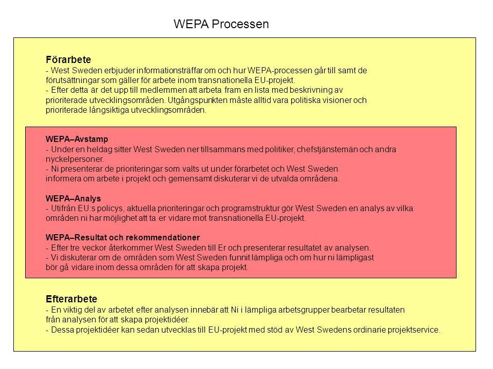 WEPA Processen Förarbete - West Sweden erbjuder informationsträffar om och hur WEPA-processen går till samt de förutsättningar som gäller för arbete inom transnationella EU-projekt.