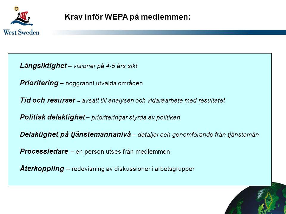 Krav inför WEPA på medlemmen: Långsiktighet – visioner på 4-5 års sikt Prioritering – noggrannt utvalda områden Tid och resurser – avsatt till analysen och vidarearbete med resultatet Politisk delaktighet – prioriteringar styrda av politiken Delaktighet på tjänstemannanivå – detaljer och genomförande från tjänstemän Processledare – en person utses från medlemmen Återkoppling – redovisning av diskussioner i arbetsgrupper