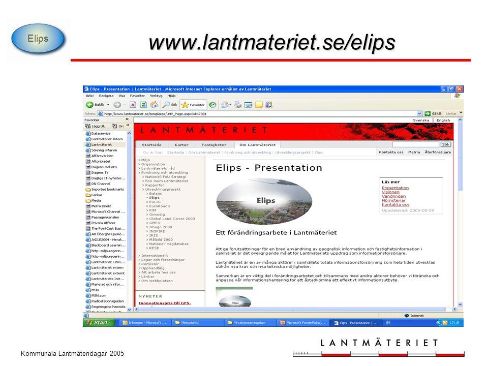 Kommunala Lantmäteridagar 2005 www.lantmateriet.se/elips Elips