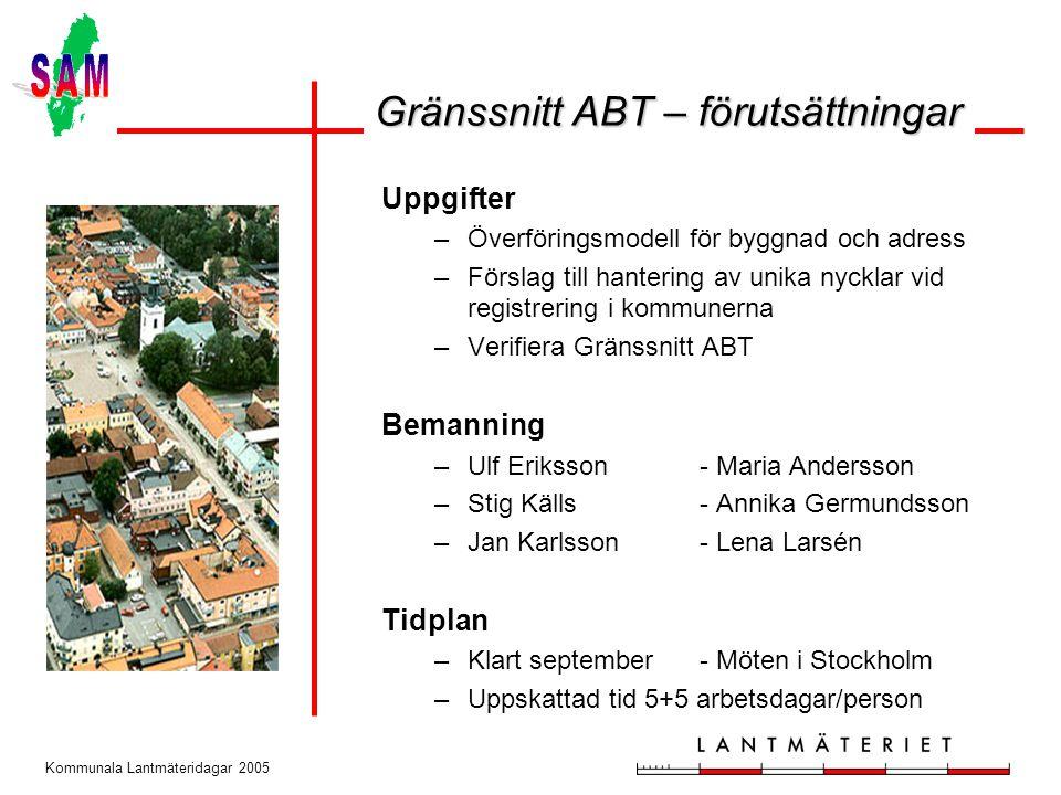 Kommunala Lantmäteridagar 2005 Uppgifter –Överföringsmodell för byggnad och adress –Förslag till hantering av unika nycklar vid registrering i kommune