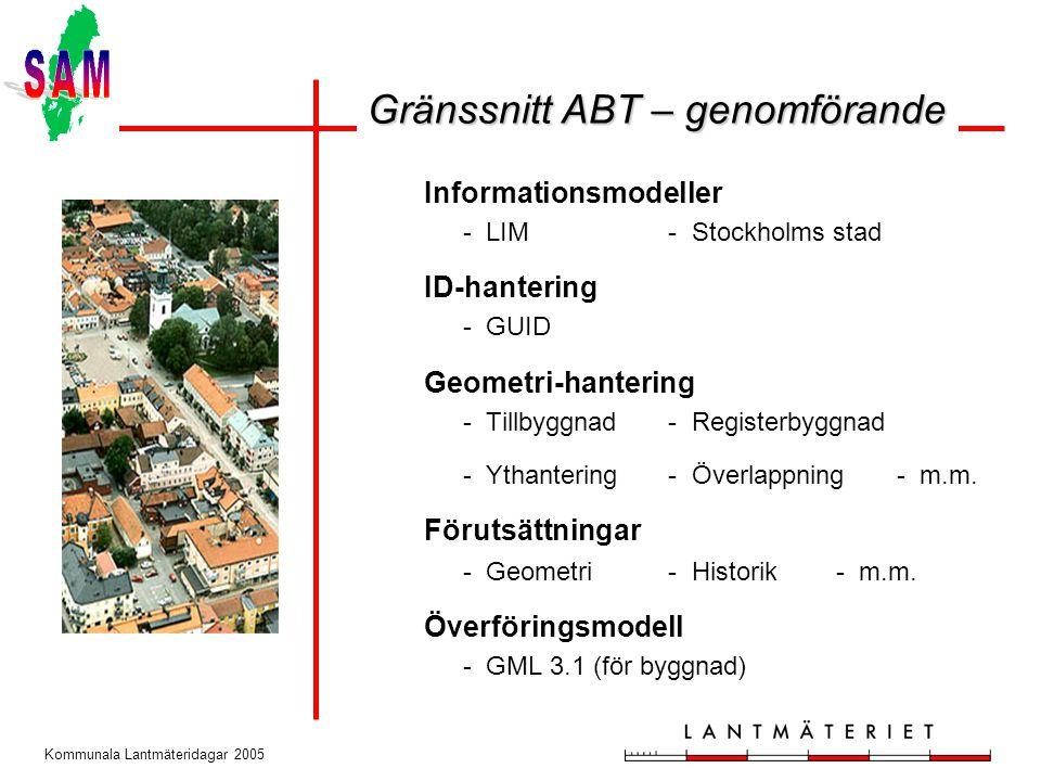 Kommunala Lantmäteridagar 2005 Informationsmodeller - LIM - Stockholms stad ID-hantering - GUID Geometri-hantering - Tillbyggnad - Registerbyggnad - Ythantering - Överlappning - m.m.