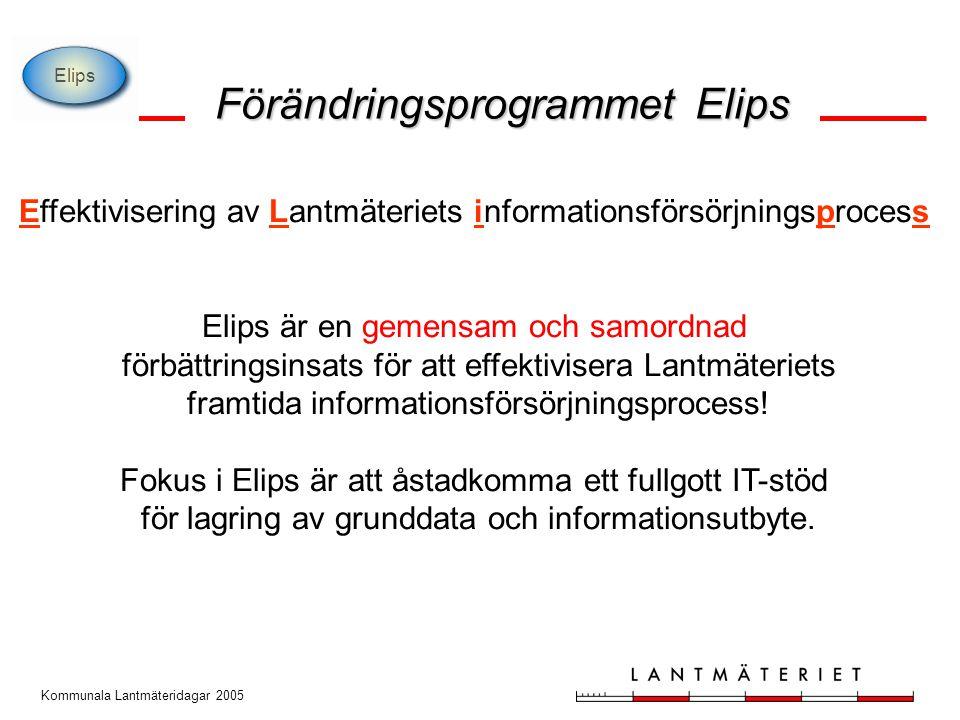 Kommunala Lantmäteridagar 2005 Effektivisering av Lantmäteriets informationsförsörjningsprocess Elips är en gemensam och samordnad förbättringsinsats för att effektivisera Lantmäteriets framtida informationsförsörjningsprocess.