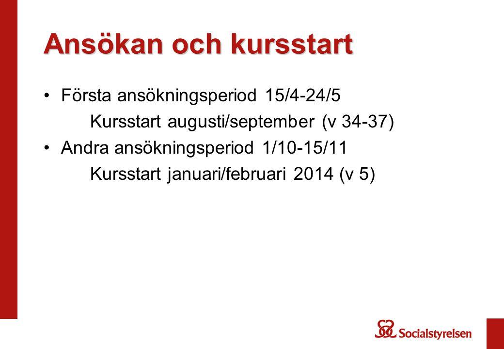 Ansökan och kursstart Första ansökningsperiod 15/4-24/5 Kursstart augusti/september (v 34-37) Andra ansökningsperiod 1/10-15/11 Kursstart januari/februari 2014 (v 5)
