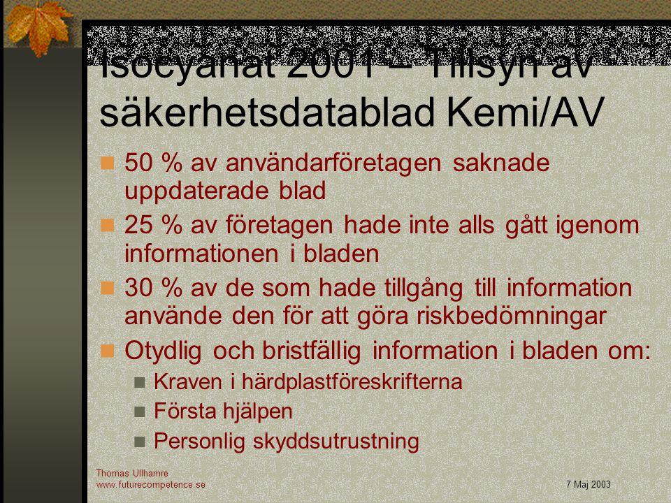 Isocyanat 2001 – Tillsyn av säkerhetsdatablad Kemi/AV 50 % av användarföretagen saknade uppdaterade blad 25 % av företagen hade inte alls gått igenom