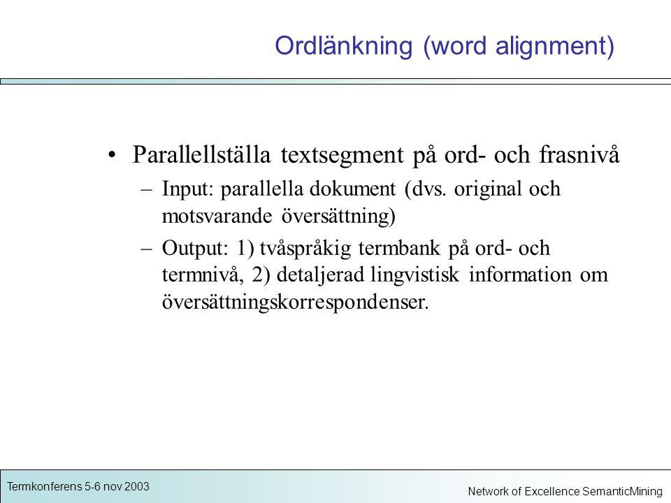 Termkonferens 5-6 nov 2003 Network of Excellence SemanticMining Ordlänkning (word alignment) Parallellställa textsegment på ord- och frasnivå –Input: parallella dokument (dvs.