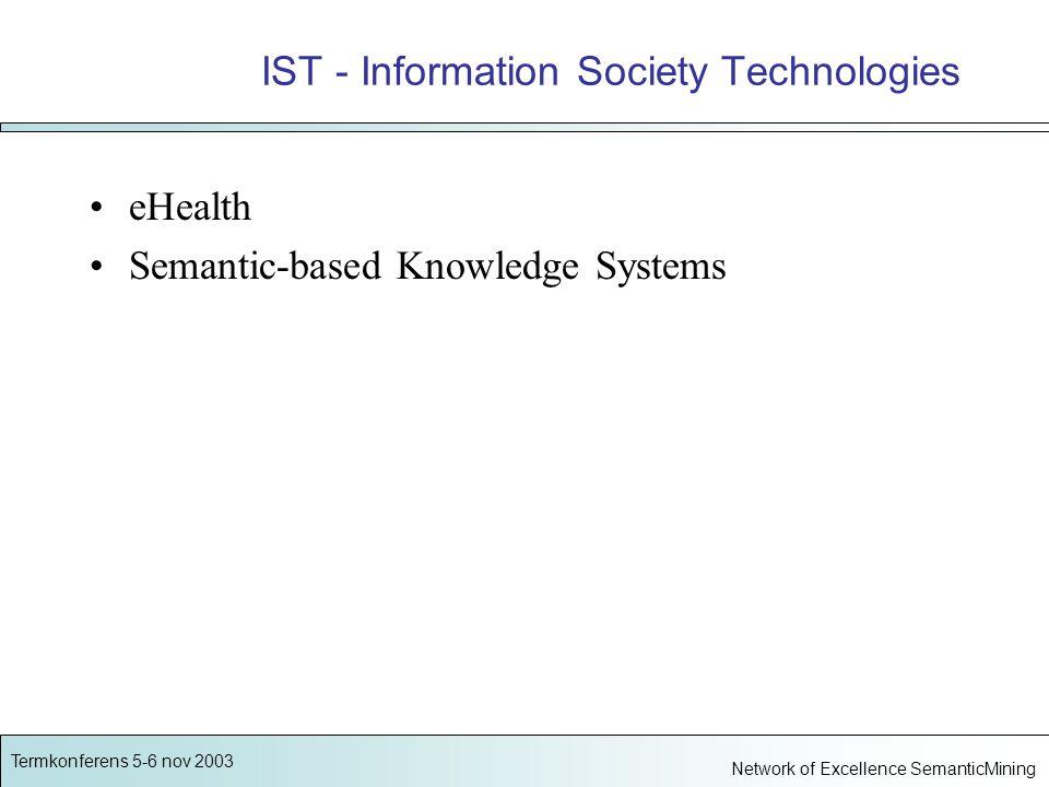 Termkonferens 5-6 nov 2003 Network of Excellence SemanticMining SemanticMining Semantic Interoperability and Data Mining in Biomedicine 25 partners från 11 länder 100 forskare, 34 doktorander