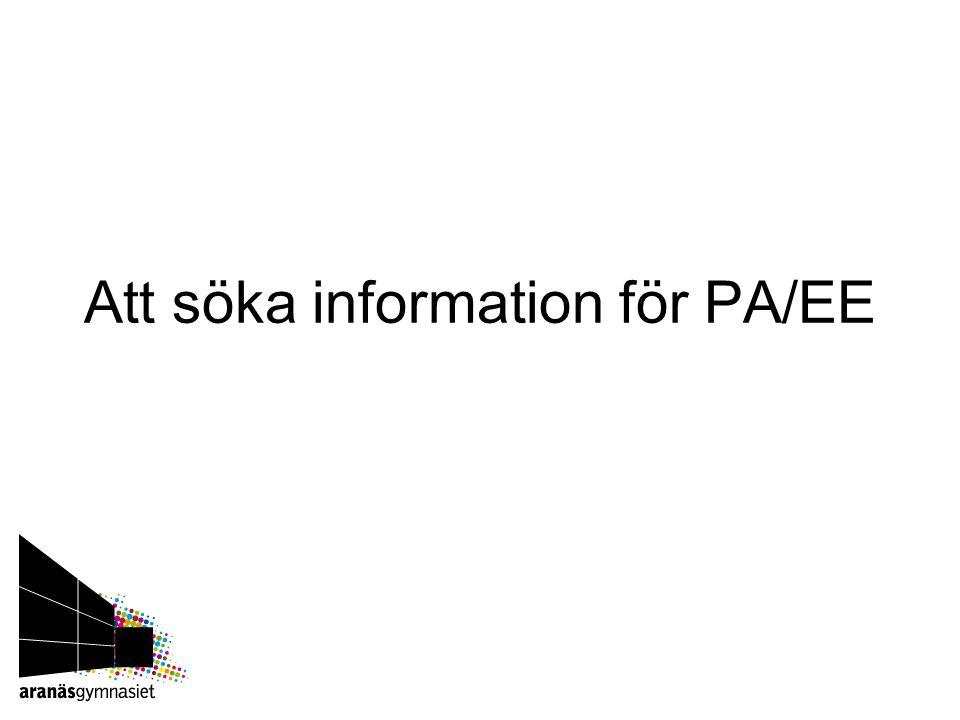 Att söka information för PA/EE