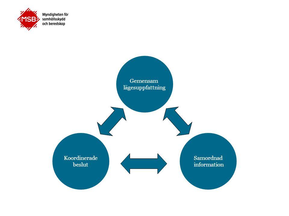 Gemensam lägesuppfattning Koordinerade beslut Samordnad information