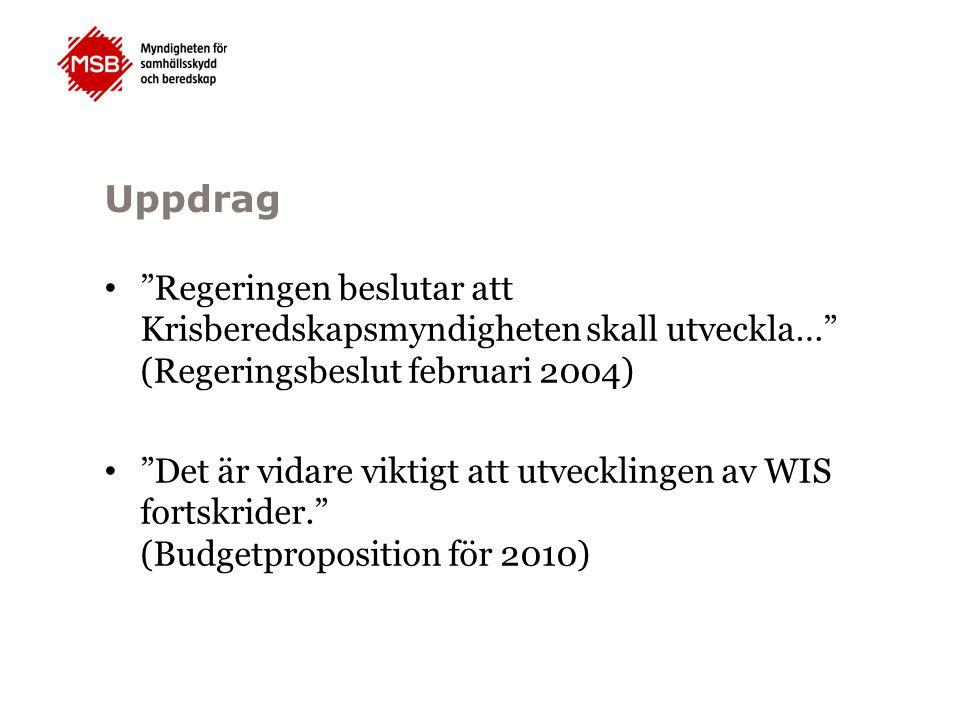 Uppdrag Regeringen beslutar att Krisberedskapsmyndigheten skall utveckla… (Regeringsbeslut februari 2004) Det är vidare viktigt att utvecklingen av WIS fortskrider. (Budgetproposition för 2010)