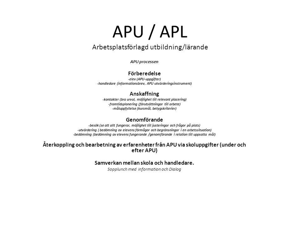 APU-processen Förberedelse -elev (APU-uppgifter) -handledare (informationsbrev, APU utvärderingsinstrument) Anskaffning -kontakter (bra urval, möjlighet till relevant placering) -framtidsplanering (förutsättningar till arbete) -måluppfyllelse (kursmål, betygskriterier) Genomförande -besök (se att allt fungerar, möjlighet till justeringar och frågor på plats) -utvärdering (bedömning av elevens förmågor och begränsningar i en arbetssituation) -bedömning (bedömning av elevens fungerande /genomförande i relation till uppsatta mål) Återkoppling och bearbetning av erfarenheter från APU via skoluppgifter (under och efter APU) Samverkan mellan skola och handledare.