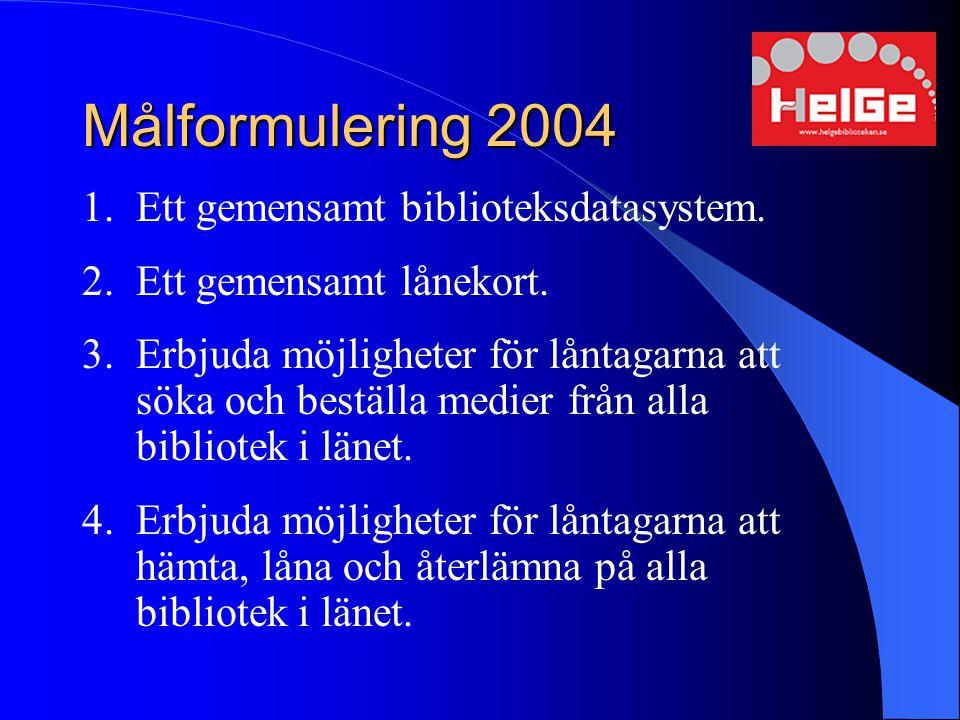 Målformulering 2004 1.Ett gemensamt biblioteksdatasystem. 2.Ett gemensamt lånekort. 3.Erbjuda möjligheter för låntagarna att söka och beställa medier