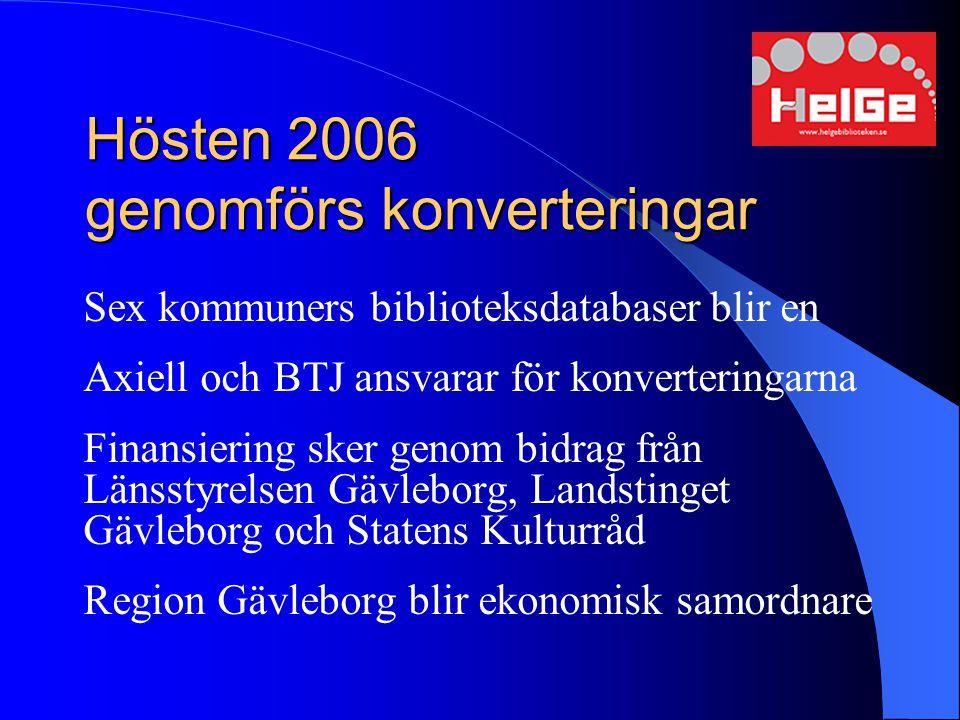 Hösten 2006 genomförs konverteringar Sex kommuners biblioteksdatabaser blir en Axiell och BTJ ansvarar för konverteringarna Finansiering sker genom bi