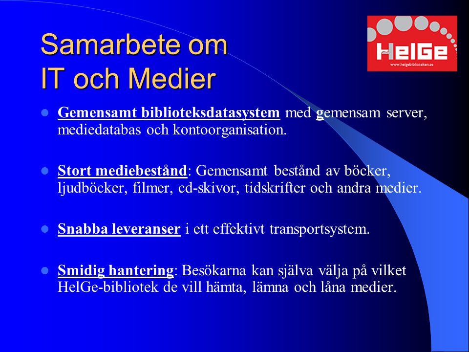 Samarbete om IT och Medier Gemensamt biblioteksdatasystem med gemensam server, mediedatabas och kontoorganisation. Stort mediebestånd: Gemensamt bestå