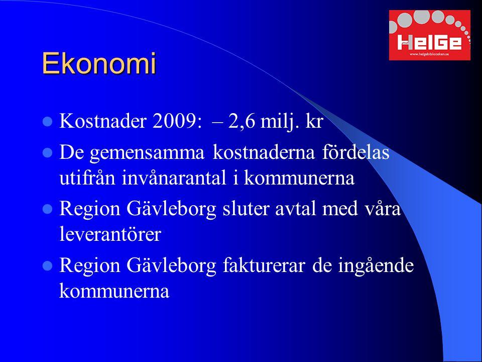Ekonomi Kostnader 2009: – 2,6 milj. kr De gemensamma kostnaderna fördelas utifrån invånarantal i kommunerna Region Gävleborg sluter avtal med våra lev